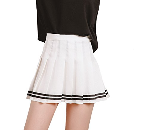 c7959eceb3 Minuoyi Sports High Waist with Underpants Tennis Badminton Cheerleader  Pleated Skirt (Tag Size XS, White + Black Stripe)