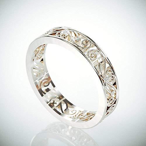 14k White Gold Filigree Women Wedding Ring set with Diamonds | 14k Gold Woman Wedding Ring in Filigree Style | Diamond Filigree ()