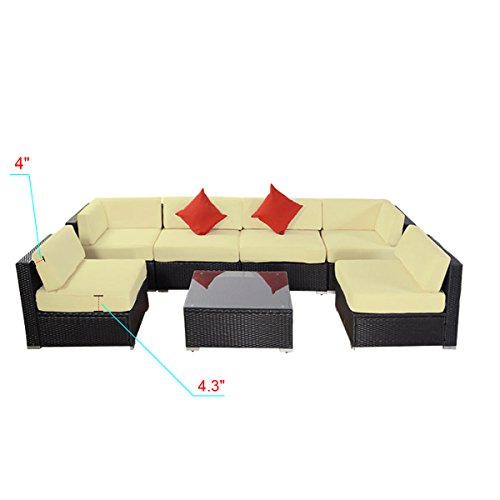 7pcs Polar Aurora Outdoor Patio Furniture Rattan Wicker Sectional Sofa Chair Couch Set Deluxe (Black) - Furniture Link