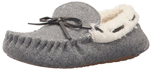 Stride Rite Unisex-Kid's Moccasin Slipper, Cozy Wool-Gray, 11-12 Little Kid