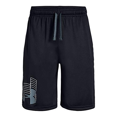 Under Armour boys Prototype Logo Shorts, Black (003)/Pitch Gray, Youth Large