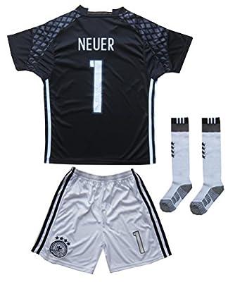 GERMANY NEUER #1 Goalie Football Soccer Kids Goalkeeper Jersey Short Socks Set Youth Sizes
