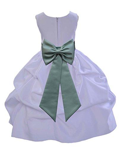 ekidsbridal White Pick-Up Satin Bubble Toddler Flower Girl Dress Seasonal Dress 208T M