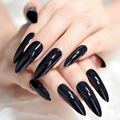 CoolNail Extra Long Sharp Classic Solid Black Stiletto False Nails Tips Oval Stilettos Bright Black UV Gel Salon Acrylic Fake Nail Art