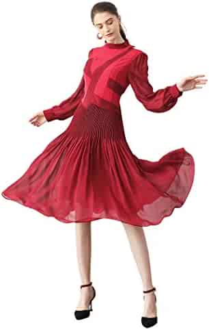 4201d81f735c3 VOA Silk Red Pleated Retro Dresses Midi Partydress Autumn Long Sleeve  Vintage A10015