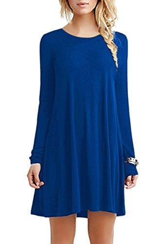 Minetom Femme Printemps t Basique Robe Col Rond Casual Tunique Chemise Mini Robe Longue T-Shirt A Bleu