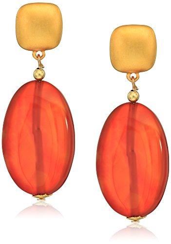 Kenneth Jay Lane Satin Gold Top Carnelian Teardrop Earrings
