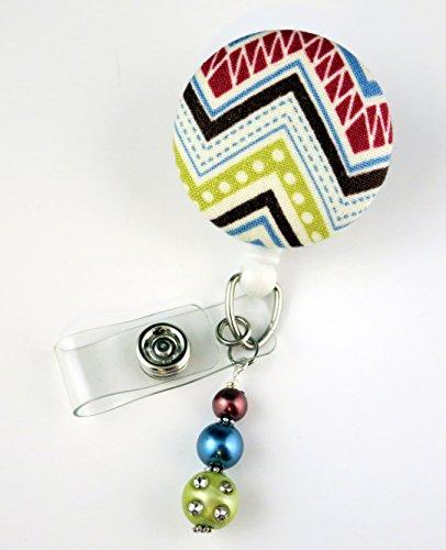 Chevron Zig Zag Reds - Nurse Badge Reel - Retractable ID Badge Holder - Nurse Badge - Badge Clip - Badge Reels - Pediatric - RN - Name Badge Holder
