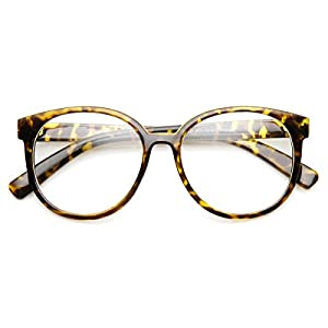 zeroUV - Retro Fashion Oversized P3 1980s Style Frame Clear Lens Glasses (Tortoise Clear)