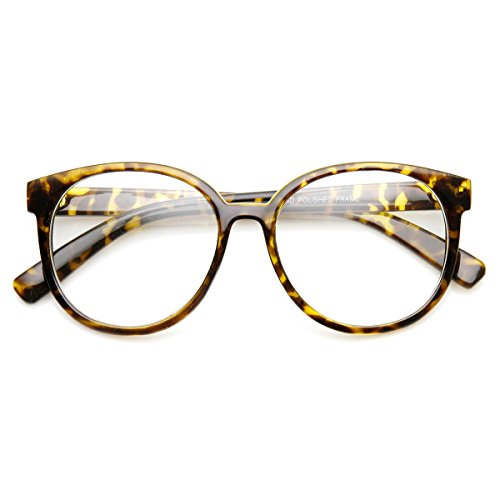 zeroUV - Retro Fashion Oversized P3 1980s Style Frame Clear Lens Glasses (Tortoise - Retro 1980's Fashion