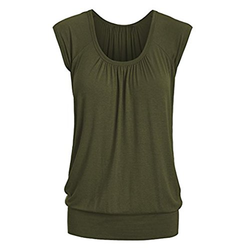 bcadbb9eabcf09 TOPUNDER Women Summer Casual Tops Round Neck Solid T-Shirt Short Sleeve  Blouse
