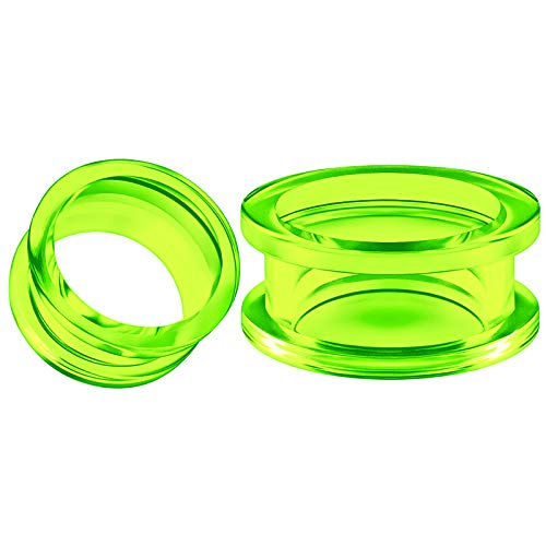 - BIG GAUGES Pair of Green Acrylic 3/4 Inch Gauge 20mm Flesh Tunnel External Piercing Jewelry Ear Stretcher Screw Earring Lobe Plug BG5090