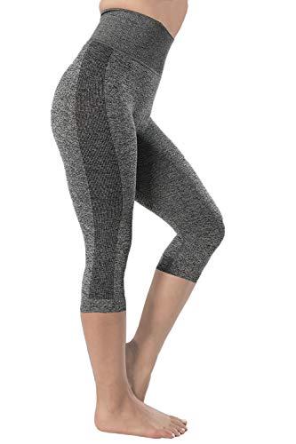 (Seamless Leggings for Women - High Waited Tummy Control Workout Women's Yoga Pants, Capri Length (Medium, Gray-Capri))
