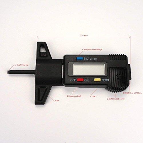 H88 Digital Tire Tread Depth Gauge Meter Measurer LCD Display Tyre Tread Brake Shoe Pad Wear Tire Tester Tread Checker for Cars Trucks SUV black 0-25mm by H88 (Image #6)