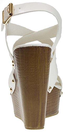 Lora Dora Womens Stacked Platform Wedge Sandals White ywcCyo2b