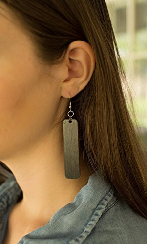 Long Rectangle Wood Earrings from Black Stained Natural Reclaimed Maple - Hoop Rectangle Earrings