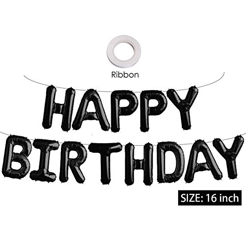 Black Happy Birthday Banner Balloons, 16 Inch Mylar Foil Letters Balloons Banner Reusable Ecofriendly Materialfor Birthday Decorations and Party Supplies(with Ribbon)