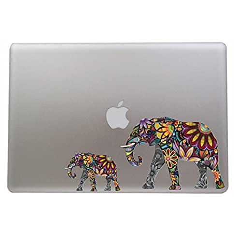 - 41N dFN9vzL - Colorful Flower Elephant – 5 Inch – Apple Macbook Laptop Decal / Sticker with Free 3 inch Colorful Flower Elephant Sticker / Decal
