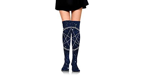 Ladies Black Over The Knee Socks with White Playing Card Symbols