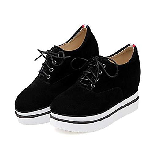 TTSHOES Chaussures US6 Noir Black Gris Basket Talon EU36 Confort UK4 CN36 Femme Plat Polyuréthane Été Printemps r5xBr7Un