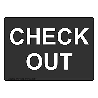 ComplianceSigns Plastic Check Out Sign, 10 X 7 in. with English ...