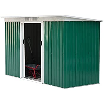 outsunny 9 x 4 outdoor metal garden storage shed greenwhite - Garden Sheds 9x6
