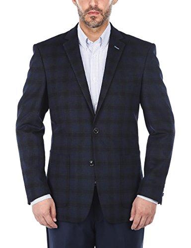 Classic Wool Blazer - Chama Men's Two Button Single Breasted Classic&Slim Fit Sport Coat Wool Blazer (Navy Blue&Dark Green, 44R)
