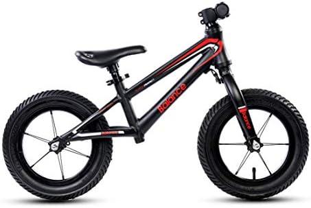SJSF Y Bici Equilibrio de 12 Pulgadas, Bicicleta Ligera sin Pedal de Entrenamiento Bicicleta de Equilibrio Ajustable con Marco de Acero al Carbono para niños de 2 a 6 años de Edad,Black:
