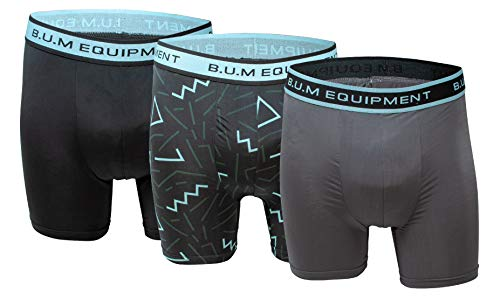 Bum Equipment Men's Performance Boxer Briefs Sports Underwear 3 Pack (Small, Black/Grey)