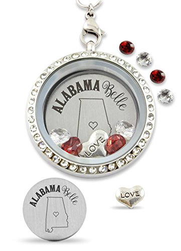 Bella Backplate - Alabama Belle Heart Floating Charm Living Memory Locket Magnetic Closure 30mm Stainless Steel Necklace