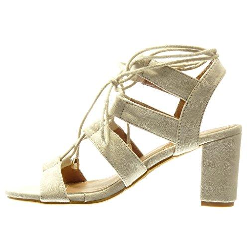 Angkorly Bride Bloc Lanière Haut cm Mule Mode Sandale 8 Chaussure Femme Multi Talon Beige Lacets gPqfrgn