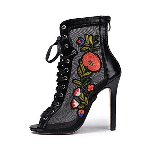 las mujeres 2018 YWNC de correas negro de cruzadas tacones bordado 35 flores espalda 40 sandalias black altos encaje verano cremallera Stiletto PPq5wrv