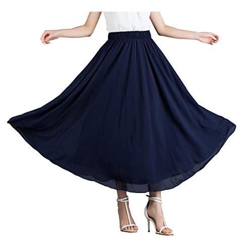 e4628aebe0cb7 good Damen Chiffon Lange Maxi Rock-Vintage Faltenrock Schlank Hohe Taille  Elastische Taille Casual Röcke