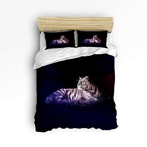 EZON-CH Soft Duvet Cover Sets Children Bed Sets for Girls Boys,White Tiger 3D Animal Pattern Bedding Sets,Include 1 Comforter Cover with 2 Pillow Cases Twin Size