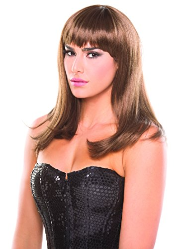 Be Wicked Women's Solid Color Brown Hollywood Wig, O/S