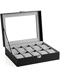 SONGMICS 10 Slots Box, Holder with Glass Lid, Case with Removable Pillow, Velvet Lining, Metal Clasp, Premium Watch Display, Faux Leather, Black UJWB010BK