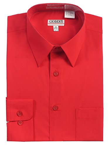 Gioberti Men's Long Sleeve Solid Dress Shirt, Red, Medium, Sleeve 33-34