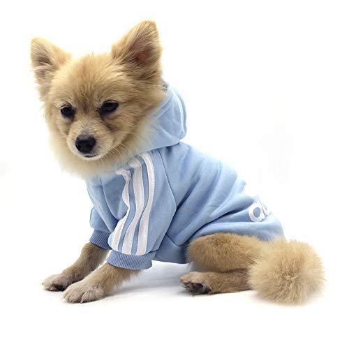 QiCheng&LYS Adidog Pet Clothes,Dog Winter Hoodies Apparel Puppy Cute Warm Hoodies Coat Sweater for Dog Cat (S, Blue)
