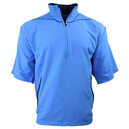 Mens Short Sleeve Windshirt - PAGE & TUTTLE Mens Peached Half Sleeve Windshirt Golf Athletic Outerwear Windbreaker Blue XL