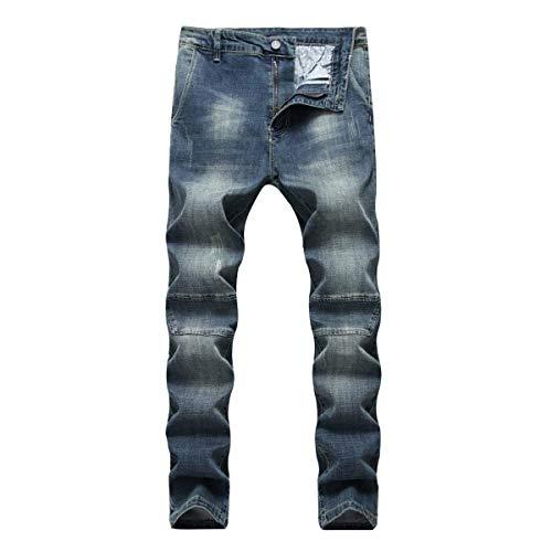 Vita Jeans Slim Dritti Denim Uomo Blu A Battercake Comodo Vintage In Da Elasticizzato Pantaloni Alta R Media Moda Fit HwzqnqEF