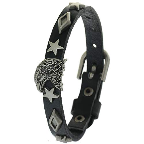 (BRLTime Genuine Cow Leather Men Bracelet Charm Jewelry Accessories Metal Rivets Star Prismatic Rivet and Eagle Studded Wrap Bracelets Wristband Cuff Bangles)