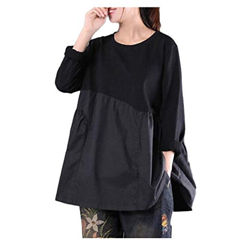 Womens Tops Clearance - WEUIE Womens Loose Long Sleeve Stitching Round Neck Casual Shirt Blouse(L, Black) by WEUIE