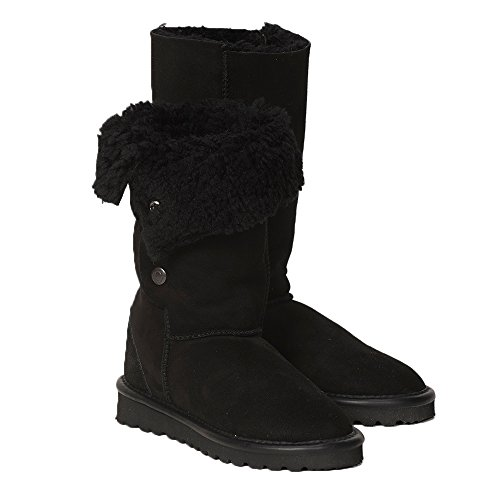 British Shearling Popper Detail Calf Height Boots - Black - 9 ()