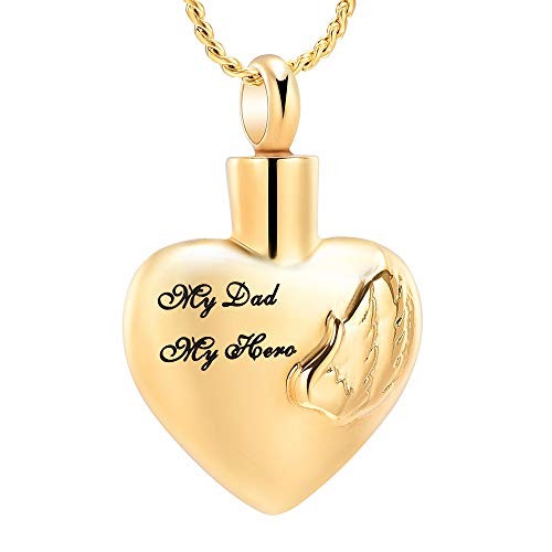 Imrsanl Cremation Jewelry for Ashes Pendant Wings Heart Urn Necklace for Women/Men Stainless Steel Memorial Urn Locket Keepsake Ashes Jewelry (My Dad My ()