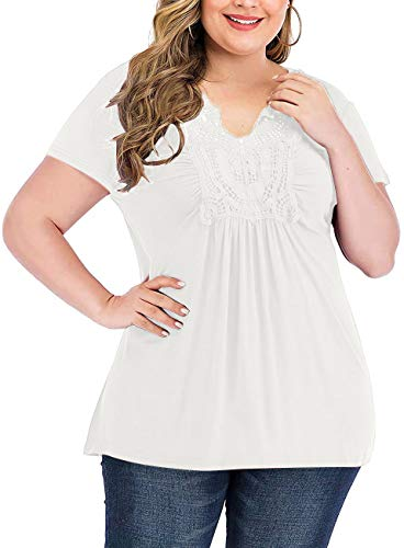 YASAKO Womens Pleated Tops Plus Size V-Neck Lace Blouse Swing T-Shirts Flowy Short Sleeve Casual Tunic (White, 3X-Large)
