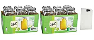 Ball Wide Mouth Half Gallon 64 Oz Jars with Lids and Bands, Set of 6 (Pack of 2) Made in USA Fast Shipping + FREE 32 in x 36 White Towel