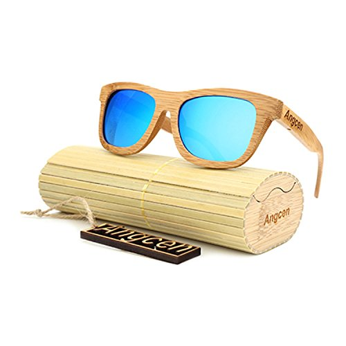JapanX Wood Wooden Sunglasses & Bamboo Sunglasses for Men Women, Polarized Lenses with Gift Box – Wooden Vintage Wayfarer Sunglasses - Bamboo Wood Wooden Frame – New Style Sunglasses (A1 - Aliexpress I Sunglasses