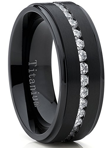 Metal Masters Co. Black Titanium Men's Eternity Wedding Band Ring with Cubic Zirconia CZ, Comfort Fit 8mm SZ 11