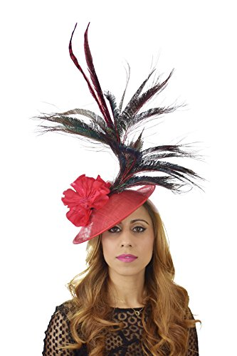 Hats By Cressida Ladies Wedding Races Ascot Derby Fascinator Headband Red Peacock by Hats By Cressida