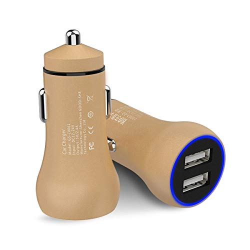 (DEALPEAK Dual-USB Car Charger 5V/2.4A Lightweight Aluminum alloy LED Rim Adapter Mini Charger For iPhone, iPad Samsung, GalaxyHTC One, LG, Nexus, iPhone,and More (Color : Gold))